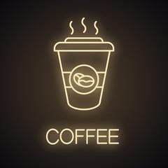 Coffee to go neon light  icon