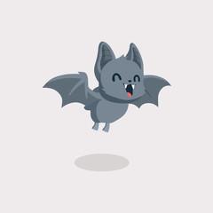 Cute bat cartoon on pastel background.