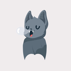 Cute bat cartoon on pastel background.
