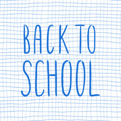 Hand drawn lettering isolated on the white background with words: Back to school. Hand written vector quote.