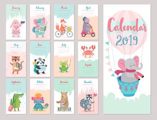 Fototapete - Calendar 2019. Cute monthly calendar with forest animals.