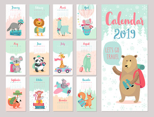 Wall Mural - Calendar 2019. Cute monthly calendar with forest animals.