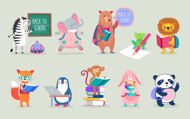Fototapete - Back to school Animals hand drawn style, education theme. Cute characters. Bear, penguin, elephant, panda, fox and others.