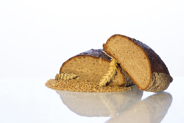 bread, ear and grain on a white background