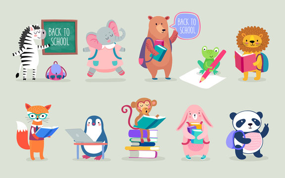 Back to school Animals hand drawn style, education theme. Cute characters. Bear, penguin, elephant, panda, fox and others.