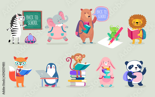 Wall mural Back to school Animals hand drawn style, education theme. Cute characters. Bear, penguin, elephant, panda, fox and others.