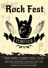 Rock Fest Advertising Poster Vector Illustration
