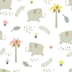 Fototapete - Childish seamless pattern with funny elephants