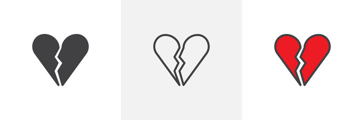 Broken heart icon. Line, solid and filled outline colorful version, outline and filled vector sign. End of love symbol, logo illustration. Different style icons set. Vector graphics