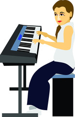Girl Play Keyboard Music Instrument