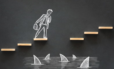 Career Planning and Business Challenge Concept with Hand Drawn Chalk Illustrations on Blackboard