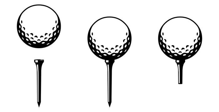 Set: Golfball mit Tee in verschiedenen Varianten / schwarz-weiß / Vektor / Icon