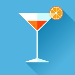 Glass for vermouth icon in flat style, wineglass on color background. Alcohol cocktail with lemon. Vector design elements for you business project