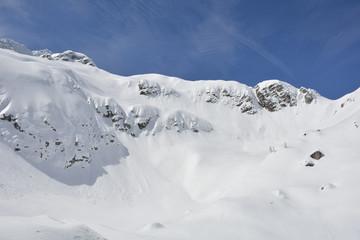 The slopes of Sella Nevea at the end of the ski season in early April, Friuli Venezia Giulia, north east Italy