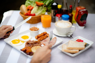 breakfast set prepare on table for morning serving, reday to eat
