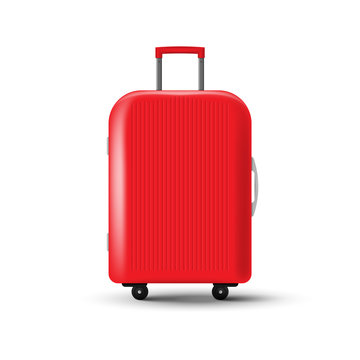 Travel suitcase with wheels isolated on white background. Vector illustration.