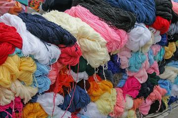 Wool balls in South American Street market