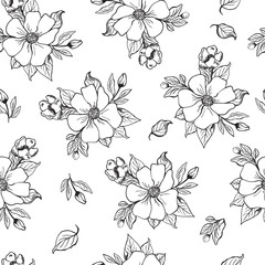Vector illustration, seamless black and white pattern with fruit blossom, apple, pear, orange flowers drawn with a tablet, can be used for paper, fabric, scrapbooking, web design
