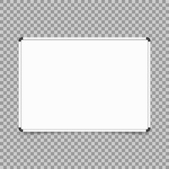 Empty whiteboard. magnetic board isolated on transparent background. Vector illustration.