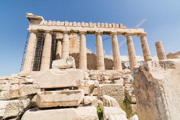 Ruins of Parthenon temple on the Acropolis, Athens, Greece