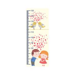 Meter growth, cute kids, children's height measurements . Vector illustration.
