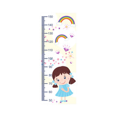 Meter growth, cute kids, girl, children's height measurements . Vector illustration.
