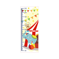 Growth meter, circus, children's height measurement . Vector illustration.