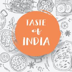 Hand drawn Indian food banner, Vector Illustration