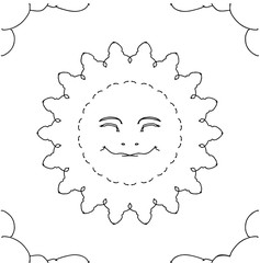 Happy smily sun mandala in the cloud in black and white