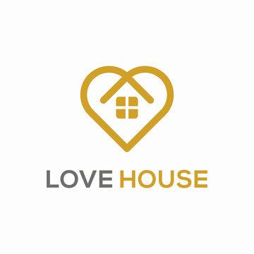 Love House Simple Logo Design Concept