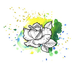 A bright green formless watercolor blot.  Rose ink flower line graphic