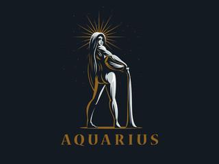Sign of the zodiac Aquarius. Vector illustration.