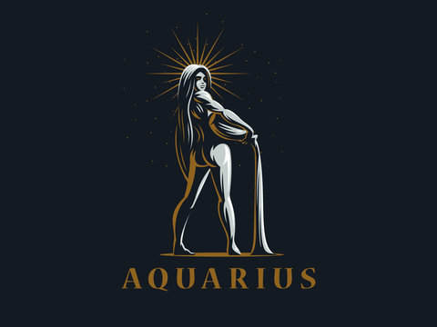 Sign of the zodiac Aquarius. Vector illustration.