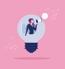 Businesswoman shouting in megaphone. Concept business vector illustration