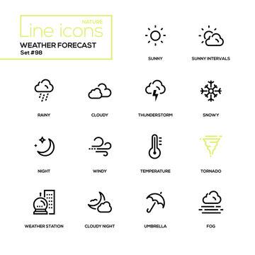 Weather forecast - modern line design icons set