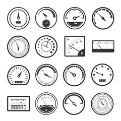 Black meter icon set