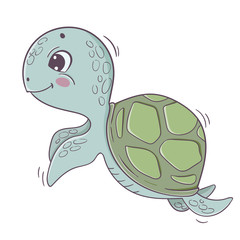 Cute cartoon sea turtle isolated on white background.