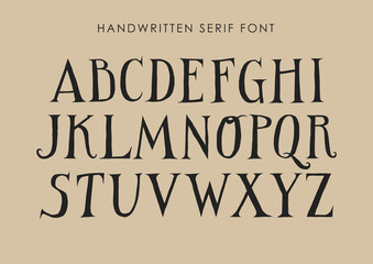 Vector uppercase alphabet. Handwritten letters with serifs and contrast.