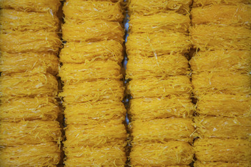background of gold egg yolks thread or foi thong