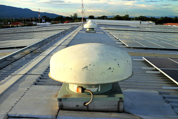Electric Roof Ventilator installed on metal sheet roof