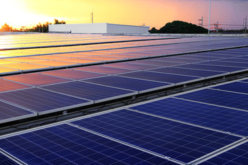 Solar PV Rooftop Beautiful Sunset Light