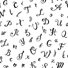 Seamless pattern. Hand written calligraphic letters