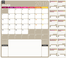 French calendar 2019 / French calendar template for year 2019, set of 12 months, week starts on Monday, printable calendar templates