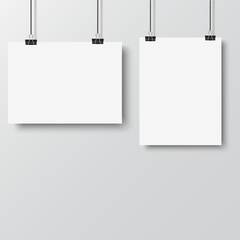 White poster hanging with binder on white background. Vector.