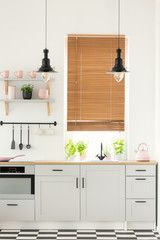 Real photo of a modern kitchen interior with wooden window blinds, cupboards, plants and pink details