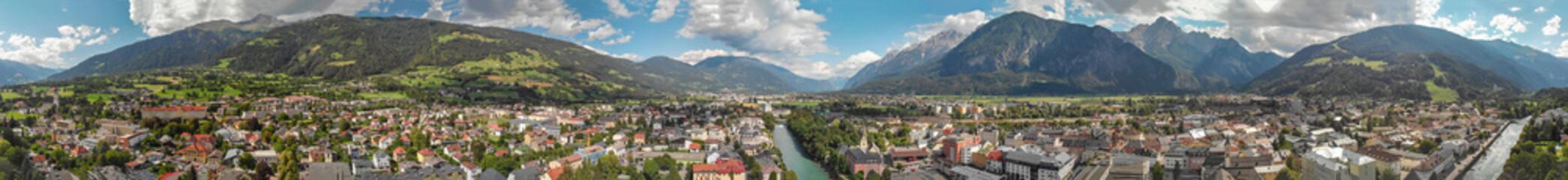 Beautiful aerial panoramic view of Lienz, Austria