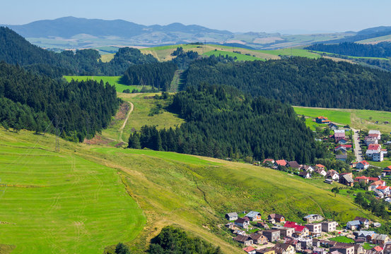 outskirts of old town Stara Lubovna. Bright sunny day with mountains in the distance. view from the top. lovely travel destination of Slovakia