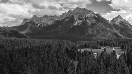 Panoramic aerial view of beautiful alpin mountains scenario