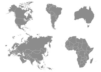 Territory of continents - North America, South America, Africa, Europe, Asia, Australia