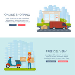 Logistics and delivery service concept: motorbike, smiling couriers with packages, scooter, building, truck and city background.